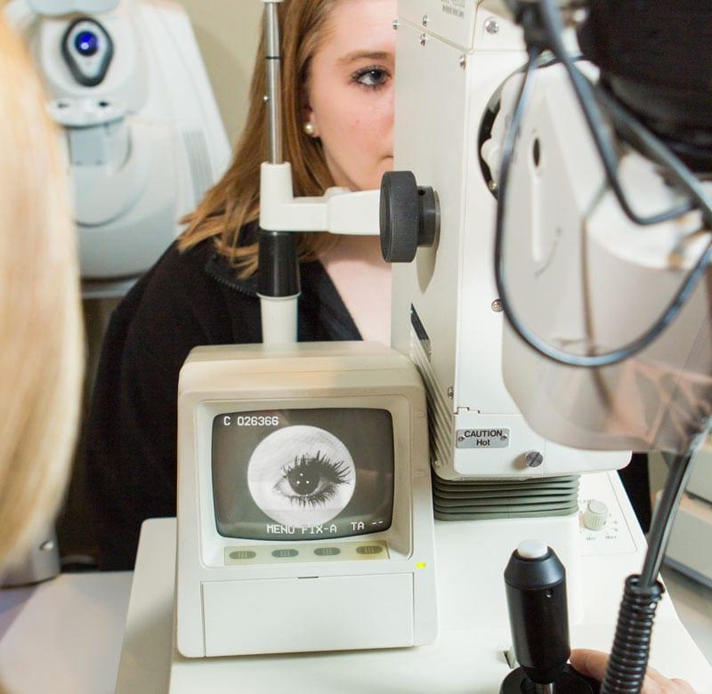 woman in an eye exam